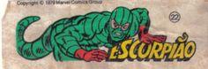 Escorpião - Essa é uma coleção de 36 figurinhas dos Super-Heróis da Marvel, do chiclete Ping-Pong, lançadas em 1979, as quais colecionei todas e colei na cômoda do quarto, como todo mundo fez.
