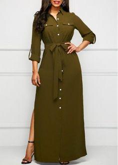 Side Slit Army Green Long Shirt Dress - Trend Way Dress Short Beach Dresses, Cheap Maxi Dresses, Sexy Dresses, Dress Outfits, Casual Dresses, Fashion Outfits, Dress Fashion, Fashion 2018, Modest Fashion
