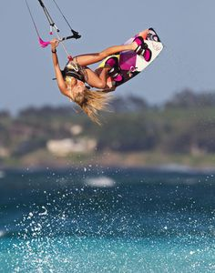 Kiteboarding Inspiration! I'm going to get up on my board this summer. Annabel Van Westerop riding the 2014 Cabrinha XO Siren board.