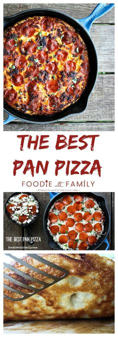 Warning, this is a two day recipe. Just a lot of waiting for the dough to rise, but worth it! The Best Pan Pizza {super easy! Iron Skillet Recipes, Cast Iron Recipes, Cast Iron Pizza Recipe, Cast Iron Skillet Pizza, Skillet Dinners, Italian Dishes, Italian Recipes, Pizza Recipes, Cooking Recipes