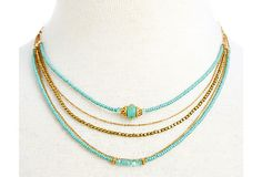 Teal Seed Shimmer Trio w/ Opal Necklace on OneKingsLane.com