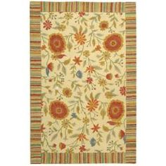 @Overstock - This floor rug has an ivory background and displays stunning panel colors of blue, gold, orange, green and ivory.http://www.overstock.com/Home-Garden/Handmade-Jardine-Ivory-Wool-Rug-99-x-139/5067060/product.html?CID=214117 $589.99