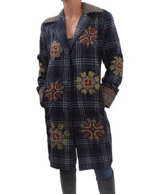 Take a look at this Blue Plaid Embellished Wool-Blend Coat by Relais Knitwear on #zulily today! $130 !!
