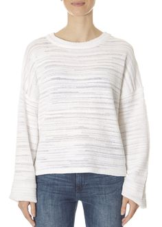 This is the Bleached White Cropped Pullover Sweater by stunning brand 525 America. SHOP NOW! Leopard Dress, Pink Leopard, Cotton Sweater, Pullover Sweaters, America Outfit, 525 America, Striped Shorts, Yellow Dress, Sweater Weather