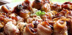 ASZALTSZIVÁS-BACONÖS CSIRKEMELLL Pretzel Bites, Sausage, Bacon, Bread, Kitchen, Food, Cooking, Sausages, Brot