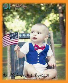 Baby Boy FOURTH OF JULY Outfit - Boys First 4th of July - 4th of July Clothes- Newborn Fourth of July - Star Bow Tie - Baby Boy Clothing by Noah's Boytique, $25.00