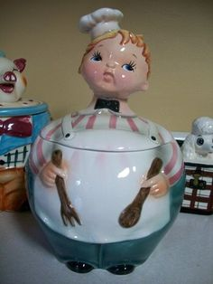 RARE 1950 VINTAGE LEFTON BAKER MAN BOY COOK CHEF COOKIE JAR