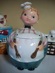 RARE 1950 VINTAGE LEFTON BAKER MAN BOY COOK CHEF COOKIE JAR