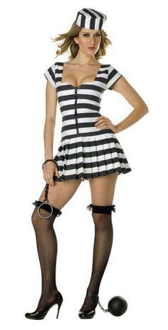 Dreamgirl Womens Jailbird Crop Top Convict Prisoner DIY Costume