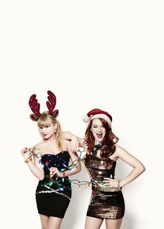 Holiday themed photoshoot with Taylor Swift and Emma Stone