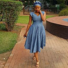 I wear a lot of beautiful dresses.but I felt exceptionally beautiful today.I needed a simple Setswana dress,You aced it 👏 Sishweshwe Dresses, Latest African Fashion Dresses, African Dresses For Women, African Print Dresses, African Print Fashion, African Attire, African Outfits, Nice Dresses, Setswana Traditional Dresses