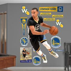 Fathead REAL.BIG. wall decals are hi-definition action images that you stick on any smooth surface. You can move them and reuse them and they are safe for walls. Title: Stephen Curry - Point Guard Mat
