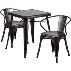 Flash Furniture 23.75'' Square Black-Antique Gold Metal Indoor-Outdoor Table Set with 2 Arm Chairs Image 1 of 7