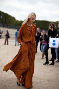 long dress in rust