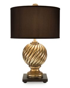 """Limited Production Design & Stock: 32"""" Tall Classic Spiral Sphere Table Lamp * Gold Gilded Finish, Brown Shade"""
