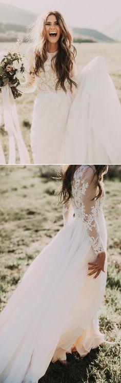 Long Sleeve Wedding Dresses, Wedding Dresses Long Sleeve, Sleeve Wedding Dresses, Sexy Wedding Dresses, Ivory Wedding Dresses, Long Wedding Dresses, Long Sleeve Dresses, Sexy Long Dresses, Long Sleeve Long Dresses, Applique Wedding Dresses, Floor-length Wedding Dresses