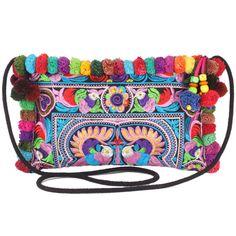 Mix Colorful PomPoms Peacocks Hmong Embroidered Hill Tribe Handmade Purse Crossbody Bag Woman Thai Handbags Boho Hippie Ethnic(SB00014MUL) on Etsy, $14.99