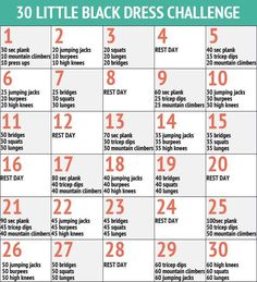 "30 Day Little Black Dress Workout Fitness   Challenge - Wish it didn't say ""little black dress"", but it looks like a good workout challenge nonetheless."