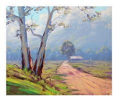 AUSTRALIAN FARM PAINTING landscape in Oil fine art by G.Gercken on Etsy, £130.64
