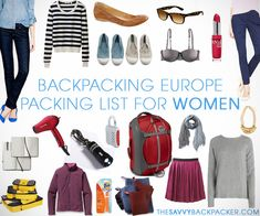 Backpacking Europe Packing List for Women - even if you aren't backpacking this is a good solid list of items to travel with.
