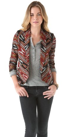 Twelfth St. by Cynthia Vincent Shawl Collar Ikat Blazer | SHOPBOP