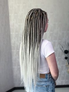 Crochet Synthetic Dreads Set - Ash Girl Ombre Style Double Ended or Single Ended , length Ombre Pastel Hair, Bob Pastel, Grey Hair Wig, Lace Hair, Blonde Hair, White Girl Dreads, Black Girl Weave, Premature Grey Hair, Malaysian Curly Hair