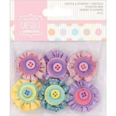 Papermania Spots/Stripes Pastels Mini Fabric Flowers-With Button Middles 6/Pkg DOCrafts http://www.amazon.com/dp/B00EW1T3EM/ref=cm_sw_r_pi_dp_rVV1wb0YPQ1ZZ