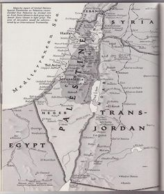 Mapa de Palestina de una revista de National Geographic de 1947