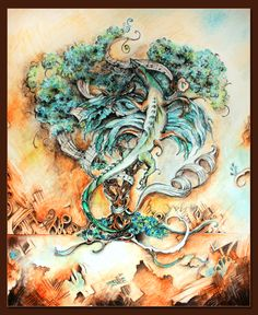 The Offering - 16x20 watercolor and ink on mat board. A blue chimera offers music to an ancient tree, symbol of life