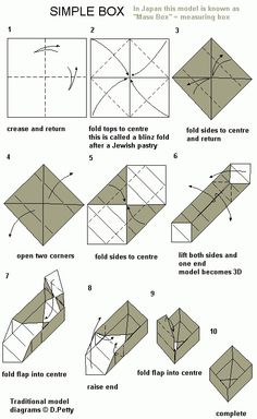 easy origami box - Use two squares. Cut second square by each on two sides = box and a lid.Easy Origami Box Instructions - Perfect for wrapping little gifts in!easy origami box - remember to cut the next box inch smaller so it nests inside as a botto Diy Origami, Origami Simple, Origami Modular, Origami Cube, Origami Gift Box, Origami Star Box, Origami Paper Art, Origami Folding, Origami Stars
