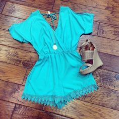 romper and wedges