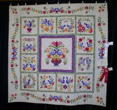 """...Sherry Turner made this beautiful version of My Tweets [Erin Russek] and won third place in the Feather Princess Quilt Guild Show in Tampa Florida. Her friend, Melissa Lamb, won second place for machine quilting."""