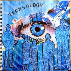 Marja's Creativity - Journal 52 - week 28 / Technology. I ♥ this!! The eye is done SO well!! She tells how she came to do this page on her website; interesting!!