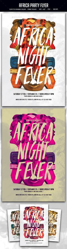 Africa Party Flyer A unique party flyer, invitation design for your next party. The final package you download includes a fully layered, renamed, grouped PSD file.
