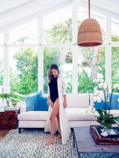 Miranda Kerr in her bright and airy living room