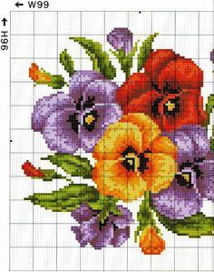 Punto croce - Schemi Gratis e Tutorial: deliziosi quadretti floreali da ricamare a punto croce