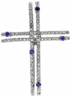 "Sterling Silver Gammadia Cross Pendant, w/ Brilliant Cut Clear & Amethyst-colored CZ Stones, 2 inch (51 mm) tall, w/ 18"" Thin Snake Chain Sabrina Silver. $83.63"