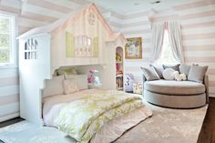 Chic girl's bedroom features walls clad in white and pink striped walls, Serena & Lily Wide Stripe . White Girls Rooms, Bedroom For Girls Kids, Big Girl Rooms, Kids Rooms, Playhouse Bed, Playhouse Ideas, Pink Striped Walls, Feature Wall Bedroom, Round Sofa
