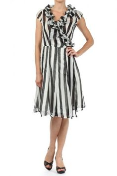 Polyester/Silk 1S/2M/2L/1XL Per Pack Black (shown) This HIGH QUALITY dress is VERY CUTE! Made from a silky smooth and comfy semi sheer fabric, this striped a-line dress with a ruffled surplice neckline, back tie, and asymmetrical hem fits true to size.
