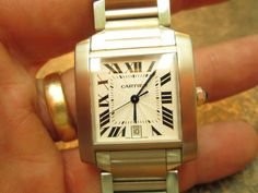 STAINLESS STEEL CARTIER TANK FRANCAISE AUTOMATIC WRIST WRIST WATCH