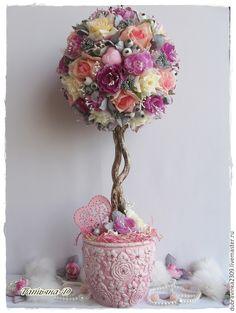 """Купить Топиарий """"Для принцессы"""". - розовый, нежность романтика стиль, топиарий из цветов"""