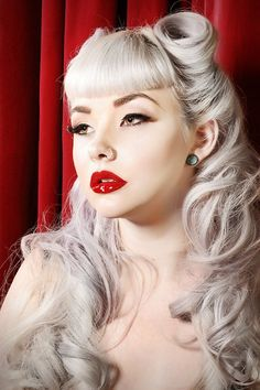 gorgeous white-silver hair, waves, suicide bangs and red lips
