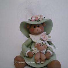 Polymer clay Easter Bear holding a lamb / sheep by HelensClayArt
