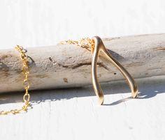 Matte Gold WISHBONE Necklace Golden Charm - - - Make a Wish