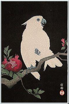 小原祥邨(1877-1945)  2. 柘榴とオウム  3. 昭和 2 年(1927)。後摺: 1980年代