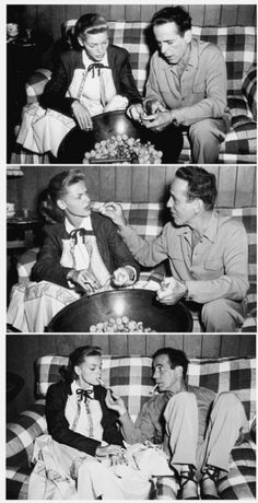 Humphrey Bogart and Lauren Becall. I feel like the second picture truly describes their marriage! :)