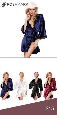 ✨Sexy Satin & Lace Kimono and Thong Blue with Black Lace Embroider. Comes with matching Thong Intimates & Sleepwear Robes