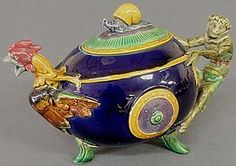 English Majolica Teapot with Rooster Spout, Snail Finial and Monkey Handle by Minton