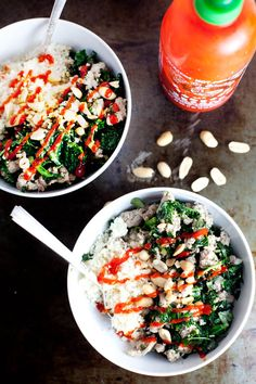 Garlic Ginger Kale Bowl with Cauliflower Rice| ourfourforks.com