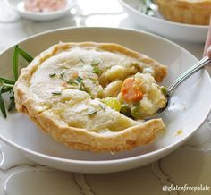 A delicious Gluten-Free Chicken Pot Pie made from scratch using chicken, carrots, onion, peas and a creamy, smooth gravy like sauce.